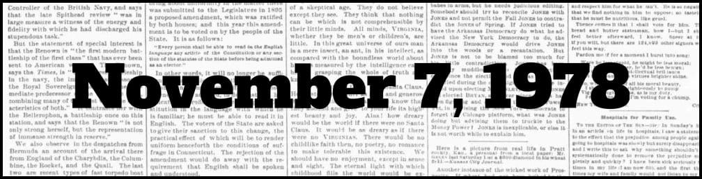 November 7, 1978 in New York history