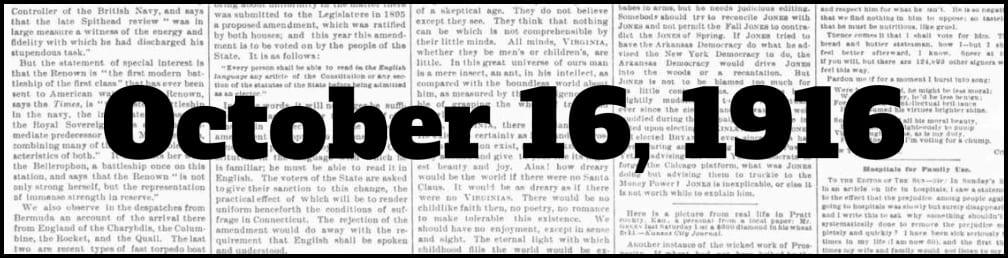 October 16, 1916 in New York history