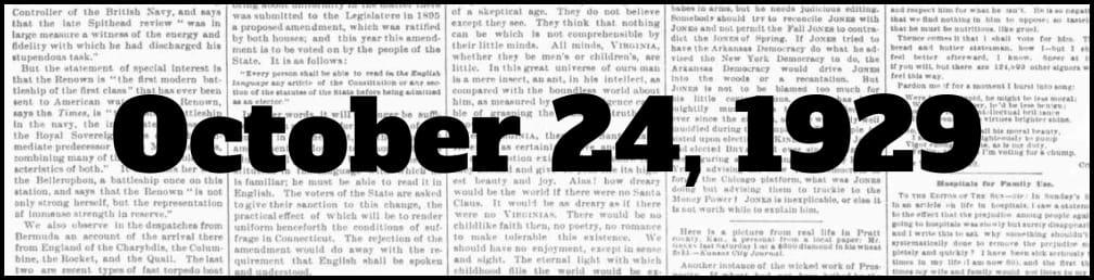 October 24, 1929 in New York history