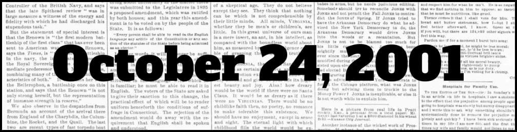 October 24, 2001 in New York history