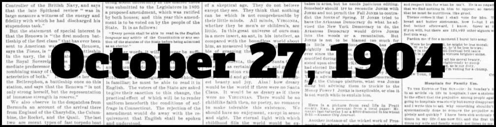 October 27, 1904 in New York history
