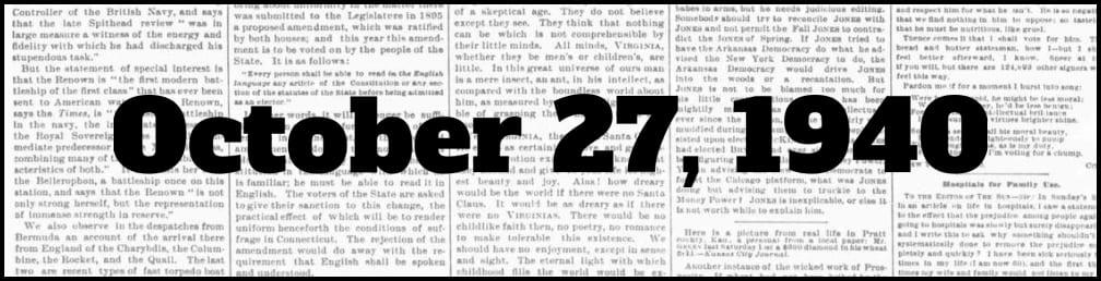October 27, 1940 in New York history