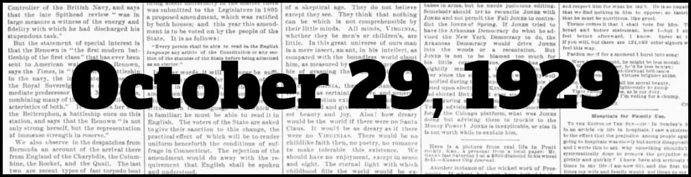 October 29, 1929 in New York history