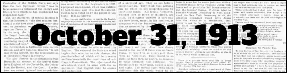 October 31, 1913 in New York history