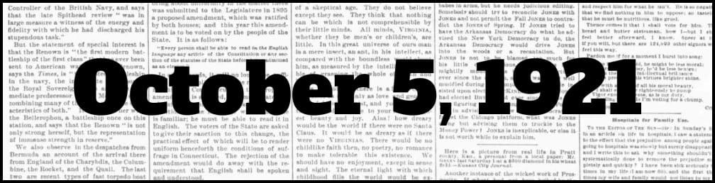 October 5, 1921 in New York history
