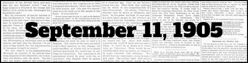 September 11, 1905 in New York history
