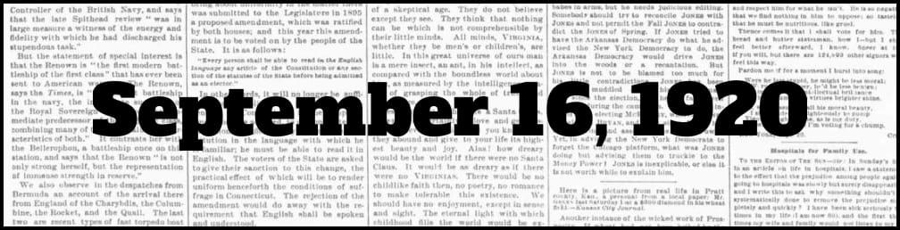 September 16, 1920 in New York history