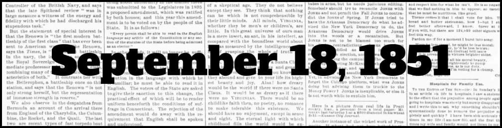 September 18, 1851 in New York history