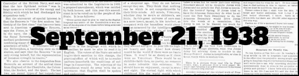 September 21, 1938 in New York history