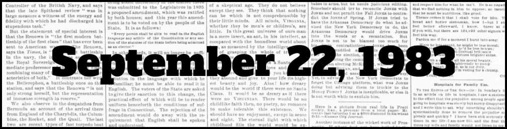 September 22, 1983 in New York history