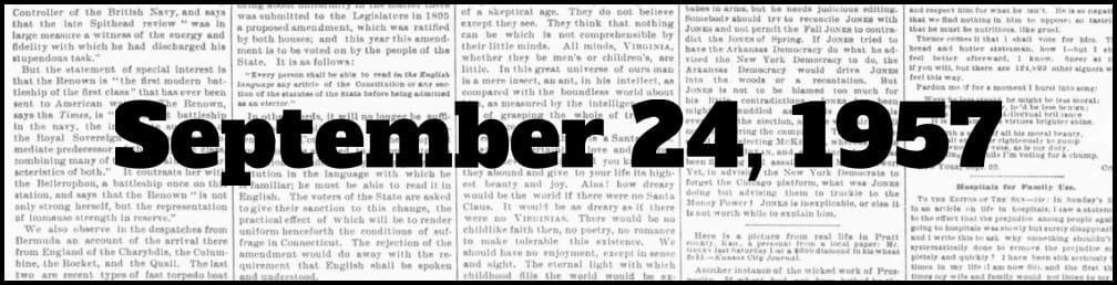September 24, 1957 in New York history