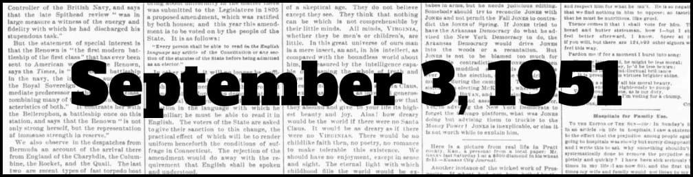 September 3, 1951 in New York history