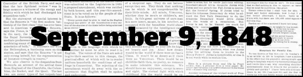 September 9, 1848 in New York history