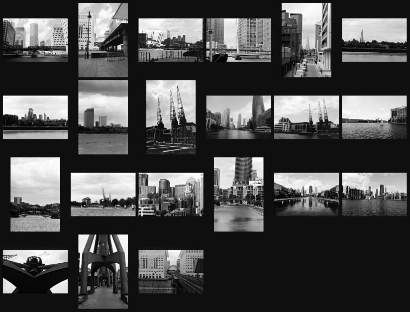 Contact sheet of a black and white film of The Isle of Dogs