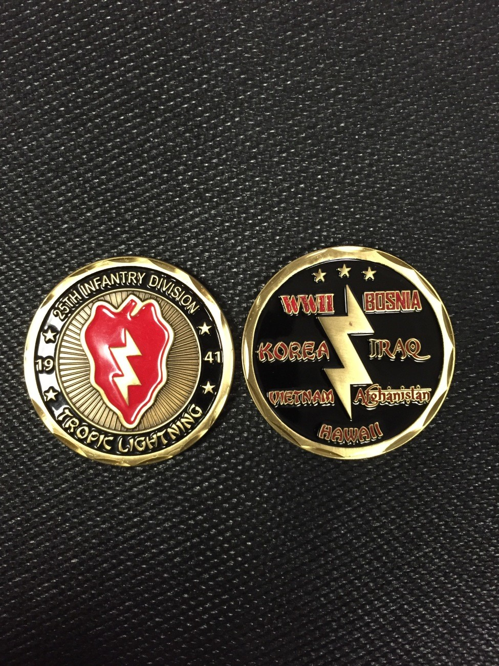 25th ID Challenge Coin with Campaigns on Back