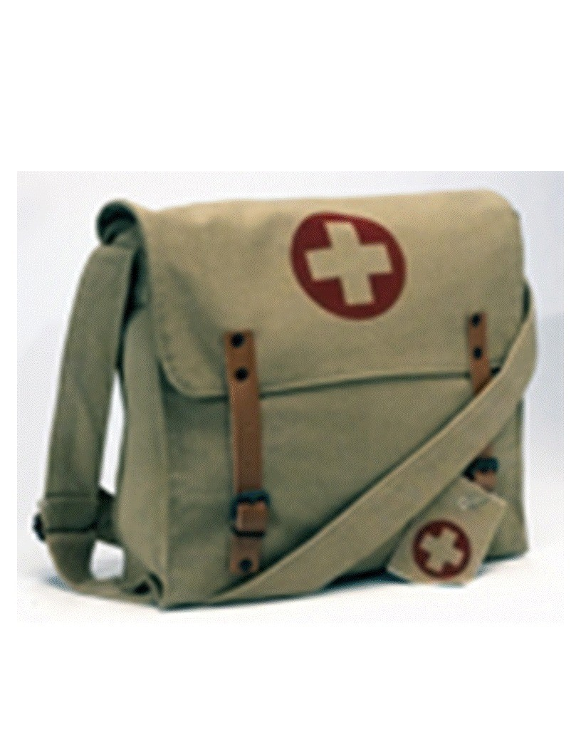 Khaki Vintage Medic Bag w/ Medics Cross
