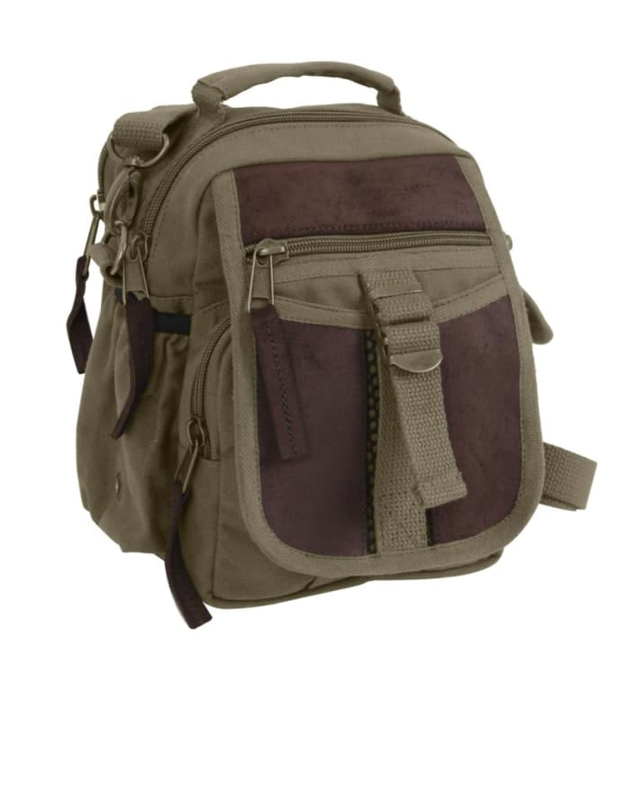 Canvas and Leather Travel Bag - Olive Drab
