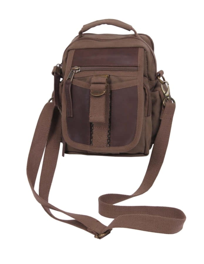 Canvas and Leather Travel Bag - Brown