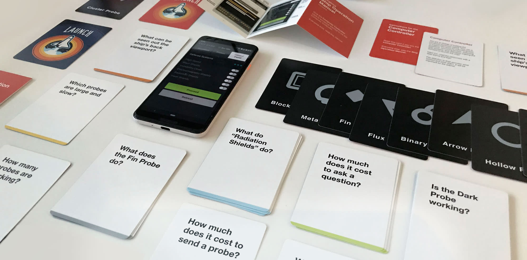 Game cards and mobile interface for The Launch.