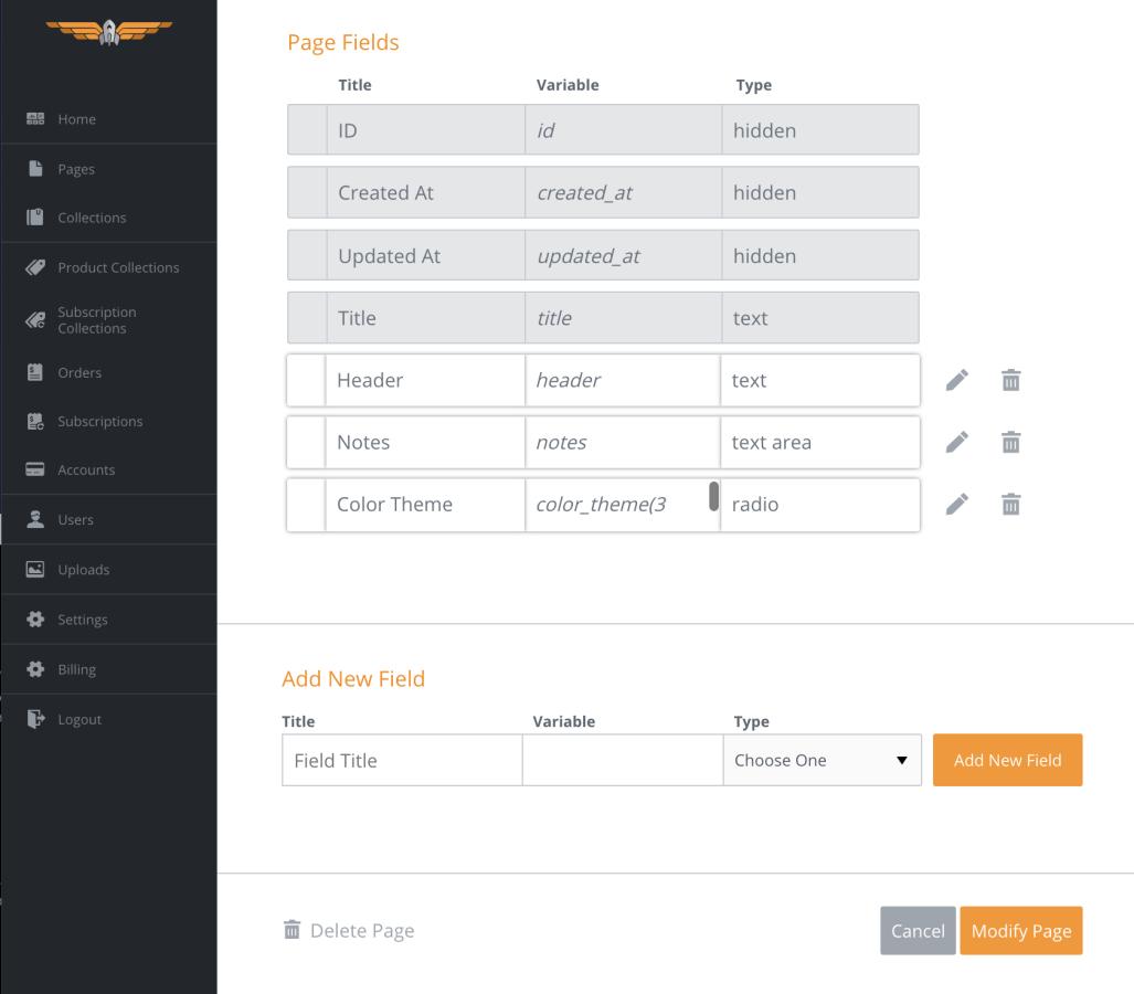 Homepage Modify tab