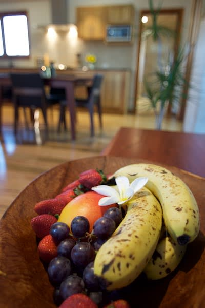 Bowl of fresh fruit in the kitchen of the Mira villa