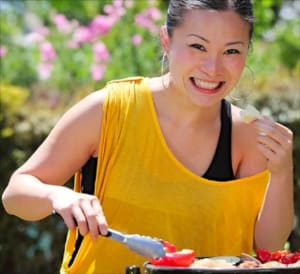 Celebrity chef with a yellow tank top