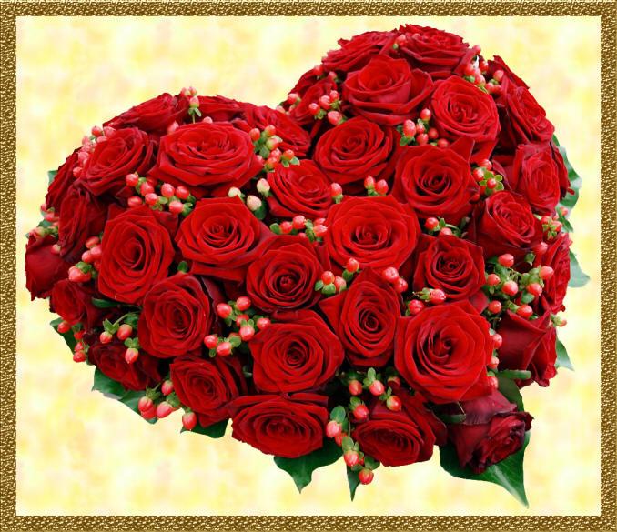 серце з троянд