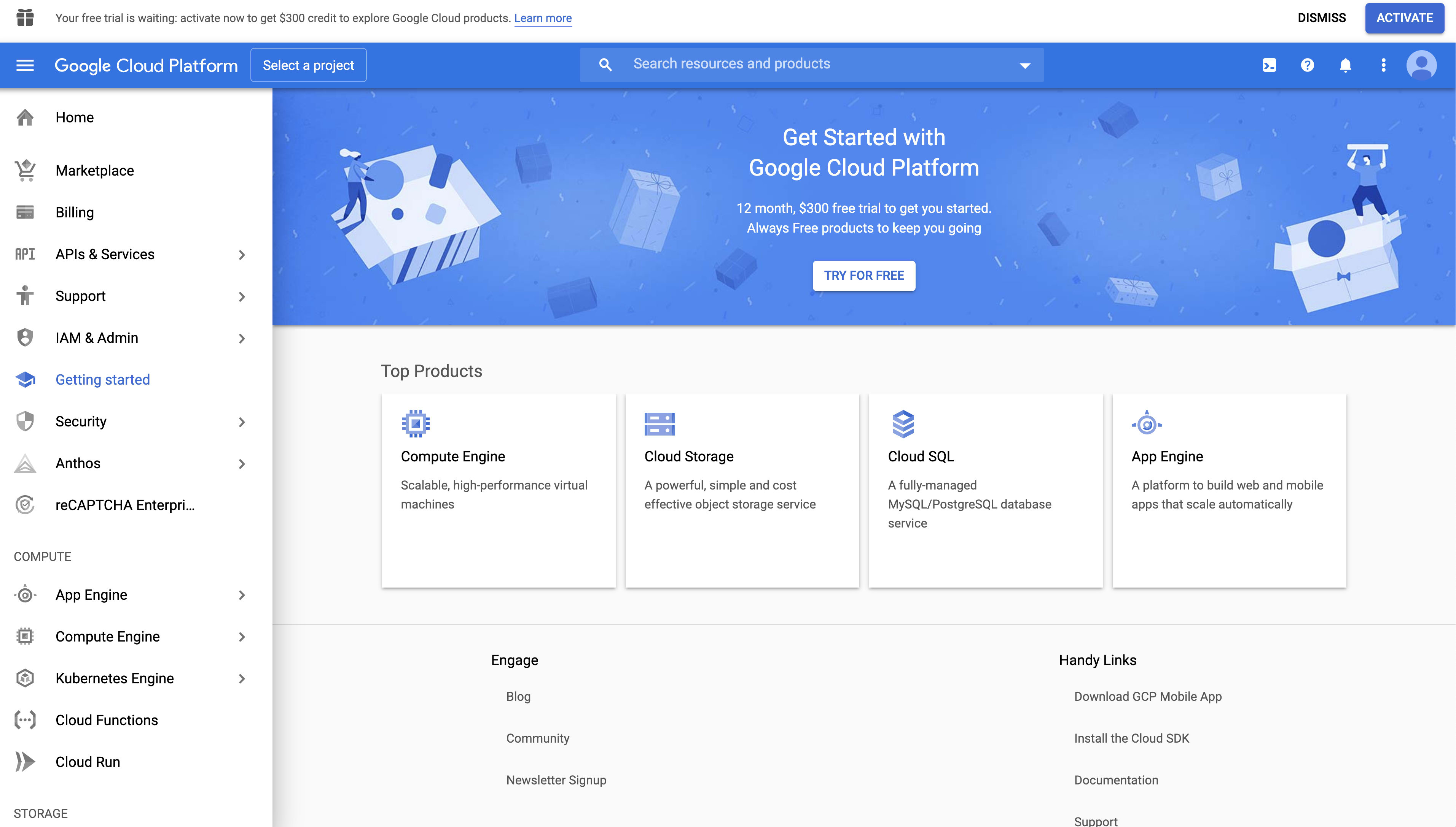 GCP Home Screen for new user