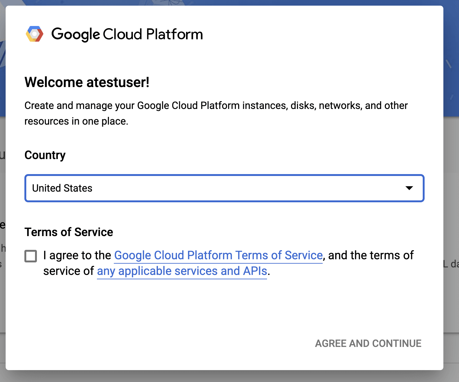 New Users GCP Agreement