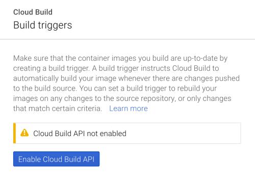 Cloud Build Enable API