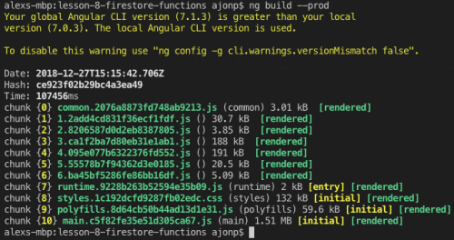 Angular Build Results