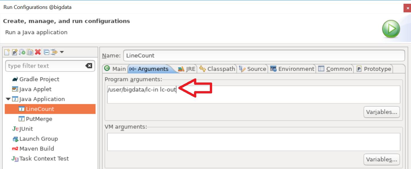 Run Configuration - Program arguments
