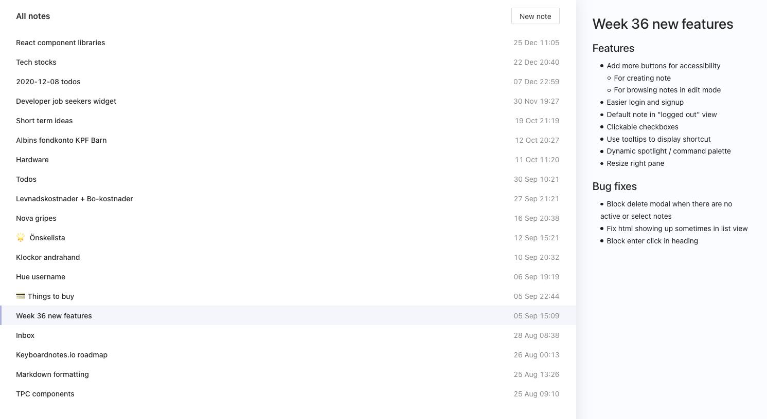 Keyboardnotes interface screenshot