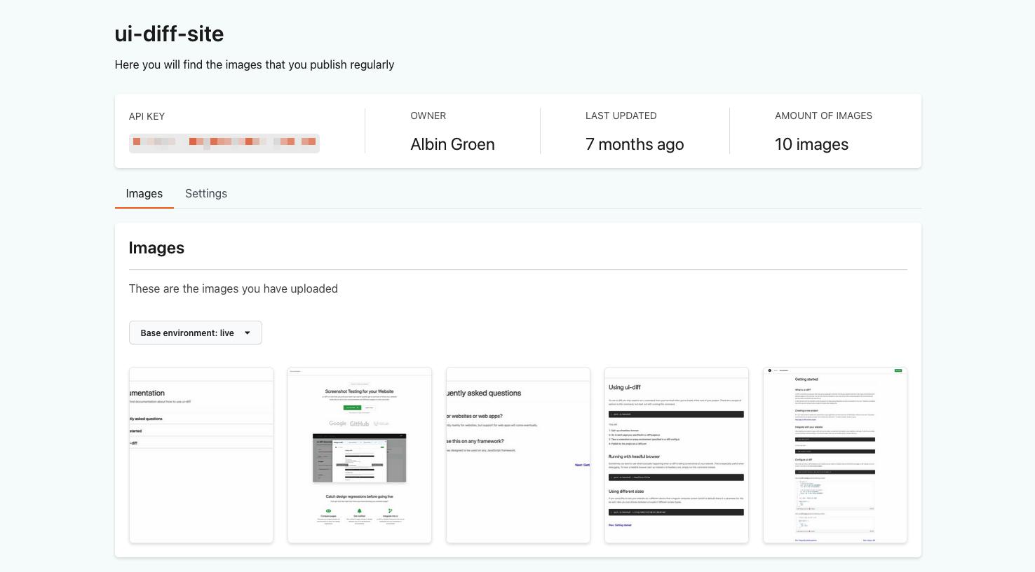 Ui Diff interface screenshot