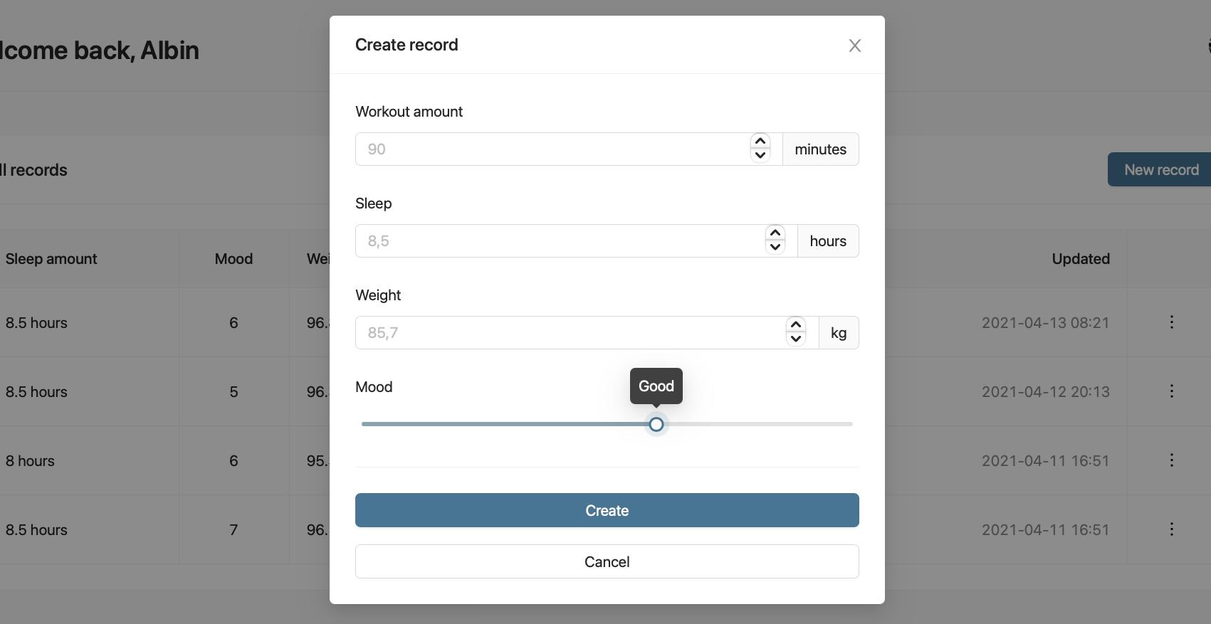 create record modal