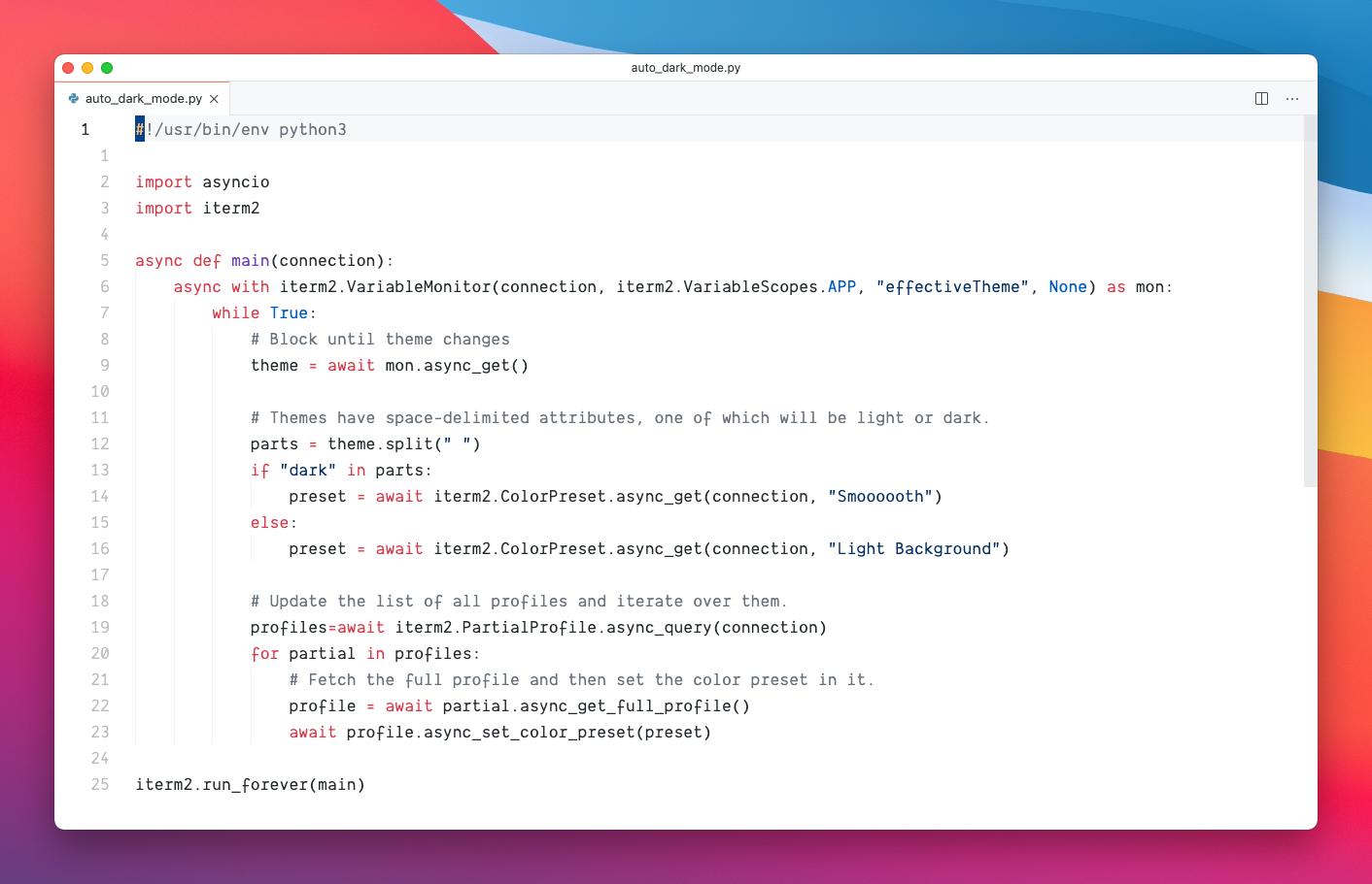 Python script in VSCode