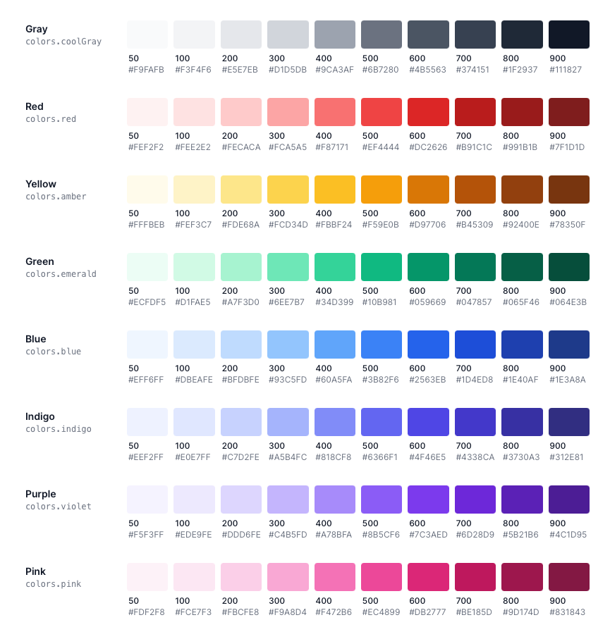 Tailwind color palette