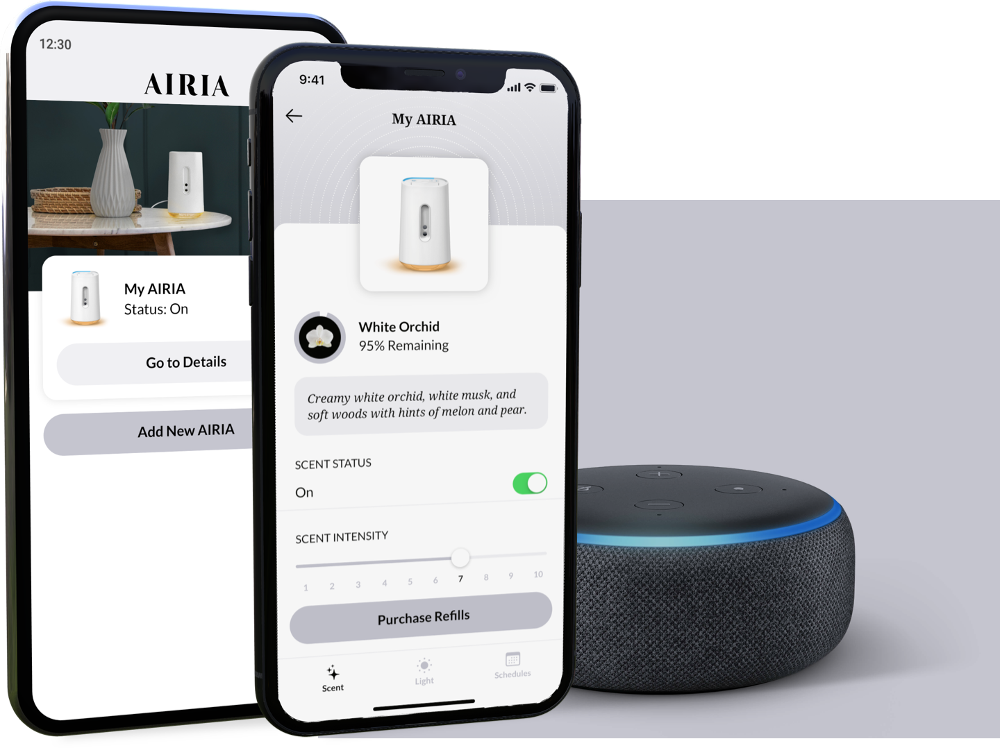 An Amazon Echo dot next to two smartphones, displaying the AIRIA app list and scent screens.