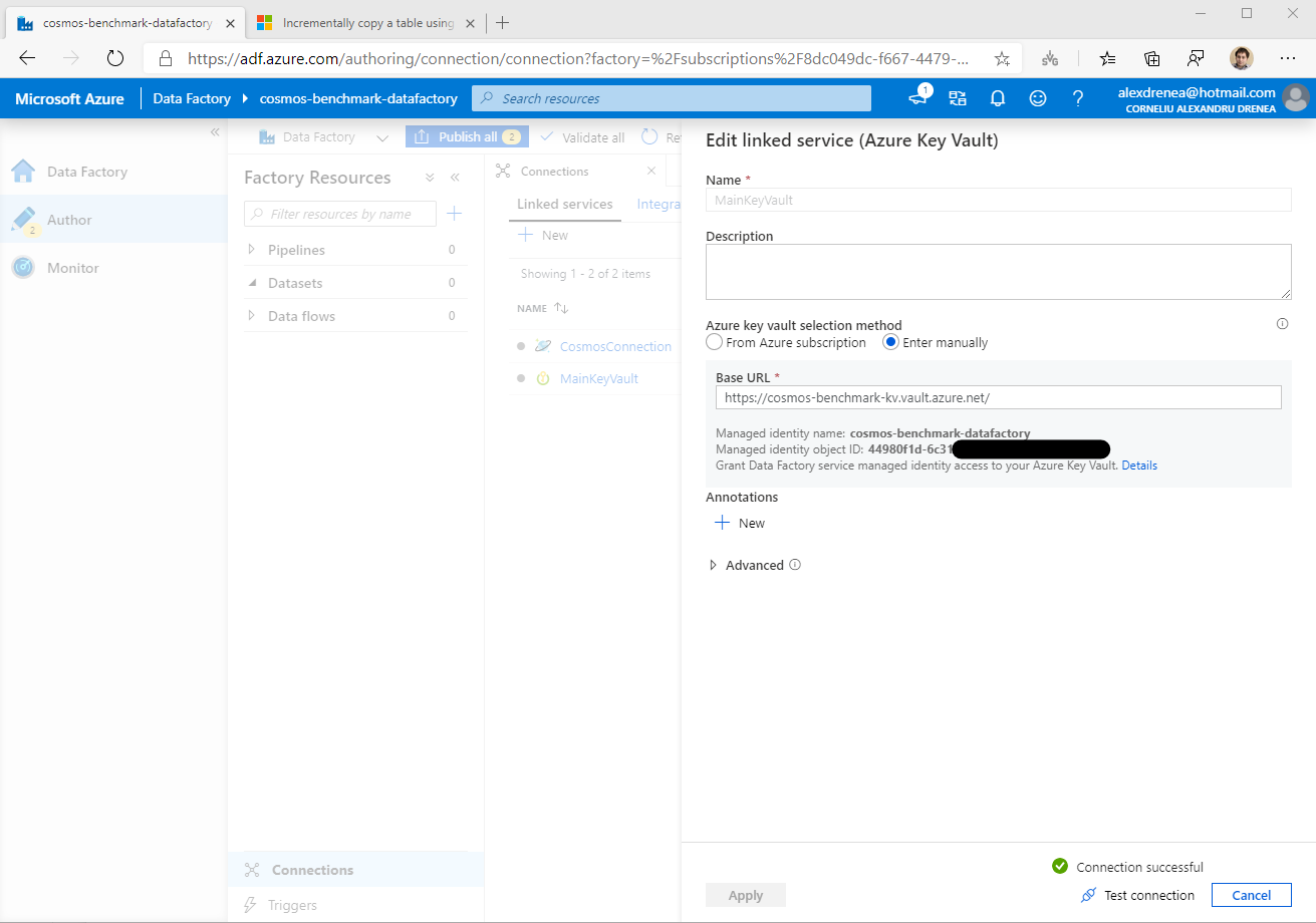 Get Data Factory Identity for assigning permissions in the Key Vault