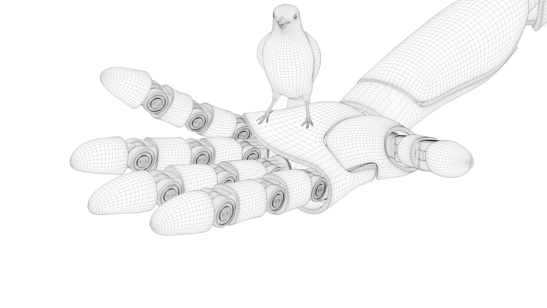 Roboterhand mit Taube