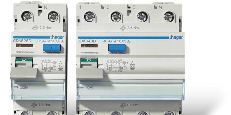 Hager: Neue 10 kA FI-Schutzschalter Typ A und Typ F