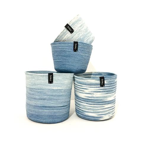 Naturally Dyed Cotton Pot - Waterfall