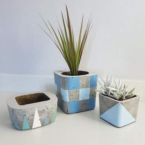 Twig Plants and Pots - Frozen concrete indoor plant pot