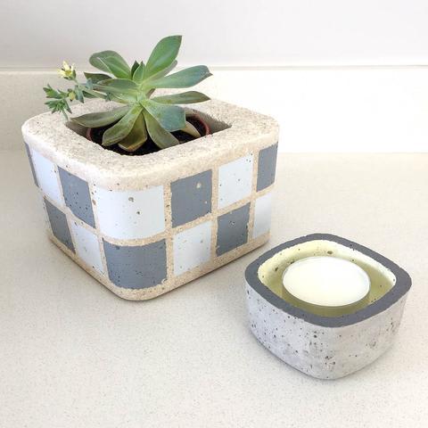 Twig Plants and Pots - Tea-light Holder concrete indoor plant pot