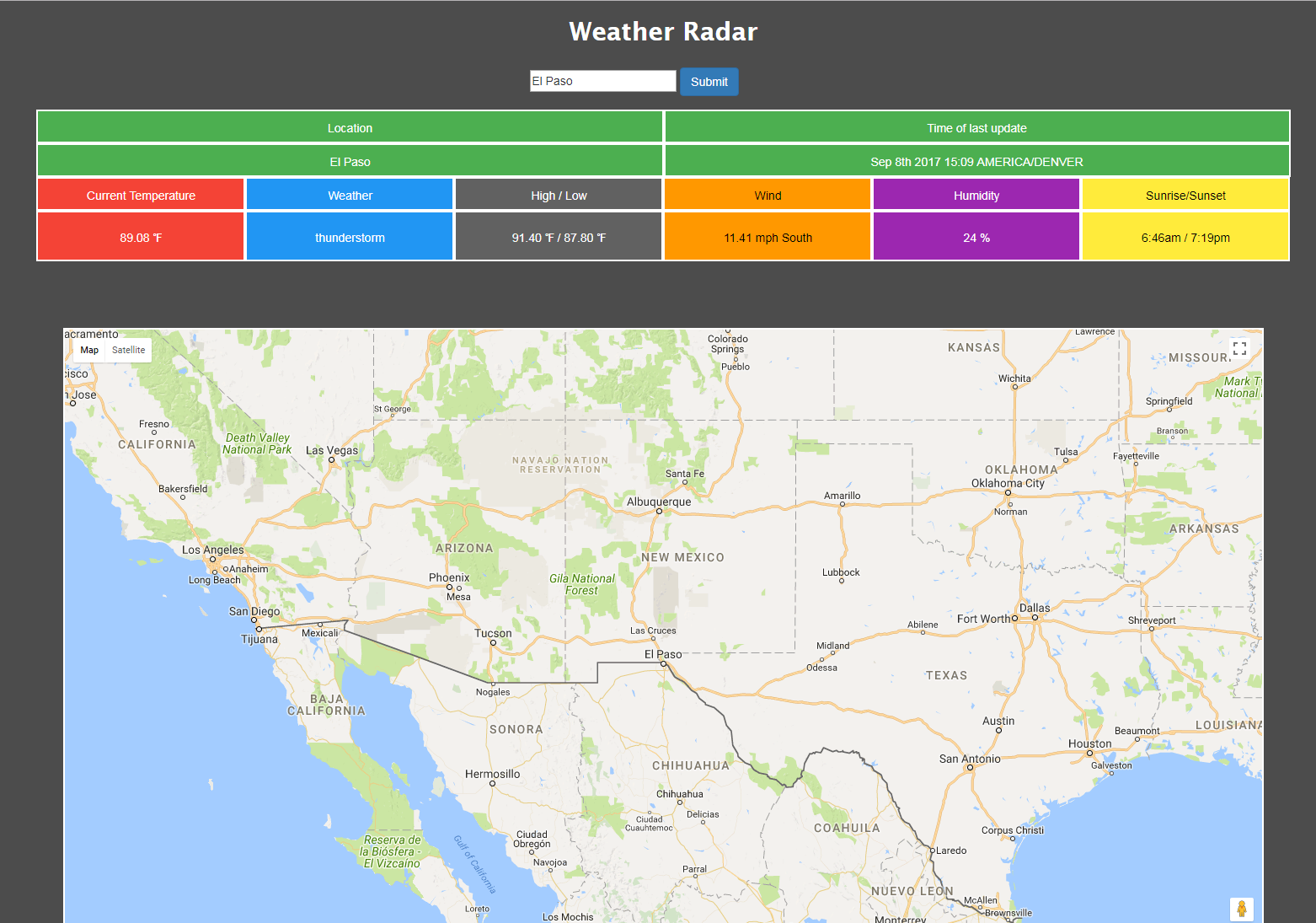 Thumbnail of weather-radar page.