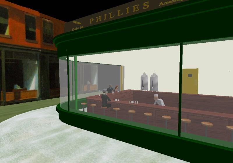 Tableau d'Edward Hopper NightHawks reproduit dans le jeu Second Life