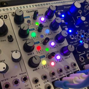 Quadrax eurorack module and all his shiny leds