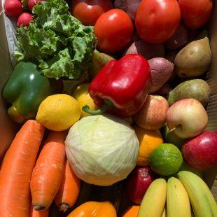 Le carton de légumes livré contenant bananes, carottes, poivrons, courgettes, pommes-de-terre, etc.