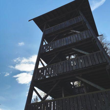 Le donjon est une toure en bois de quatre étage d'une vingtaine de metre de haut