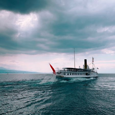 the cable-stayed steamboat La Suisse on Lake Léman (and not Geneva) at Lutry
